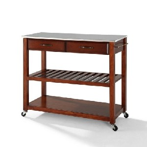 Cherry and Stainless Steel Top Kitchen Cart