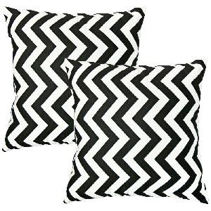 Chevron Zig Zag Village Black and White Toss Pillow