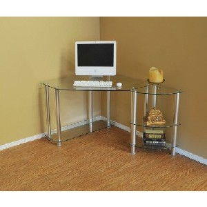 Clear Glass Corner Computer Desk With Storage