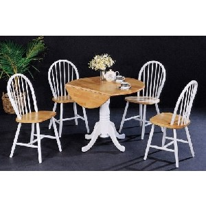 Cottage Style White & Natural 5pc Drop Leaf Table