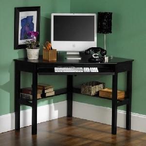 Dark Wood Corner Computer Desk
