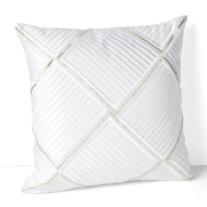 Diamond Beaded Throw Pillow White