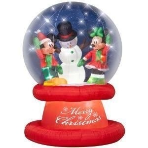 disney mickey minnie snowman globe inflatable