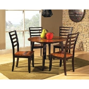Double Drop Leaf Round Casual Dining Table in Acacia Finish