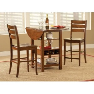 Drop Leaf Dining Table with Storage - Mahogany