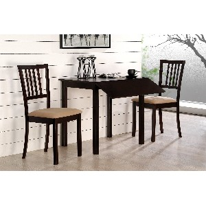 Drop Leaf Table and Chairs Dinette Set Cappuccino