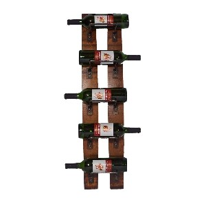 Five Bottle Wooden Wall Rack