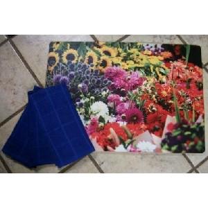 Floral Design 18 x 27 x 1/4 Memory Foam Kitchen Rug