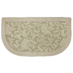 Floral Scroll-Tanbor Memory Foam Kitchen Rug Slice, 20-Inch by 36-Inch