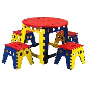 Folding Plastic Artist Table Set for Boys