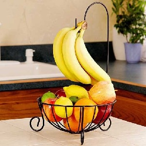 black wire fruit bowl with banana hook