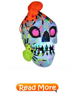Giant Halloween Kaleidoscope Lights Airblown Skull