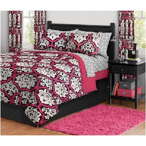 Girl Pink Black Damask Polka Dot Queen Comforter Set