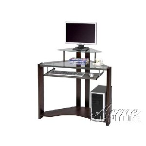 Glass Top Corner Desk with Monitor Stand