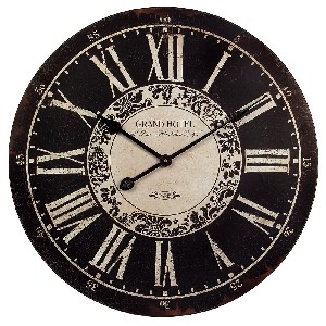 grand hotel black wall clock
