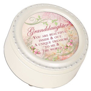 Granddaughter Glossy Ivory Finish Round Jewelry Music Box