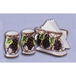 3pc grape tabletop set salt pepper napkin holder