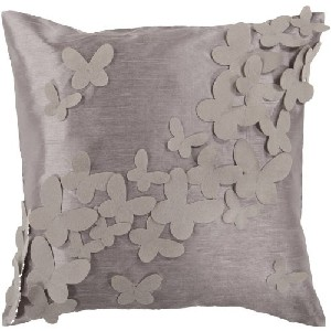 Gray and Cobble Stone Dimensional Butterflies Throw Pillow