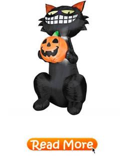 Grinning Black Cat Holding Jack O Lantern