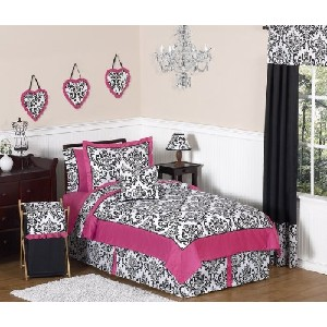 Hot Pink Black and White Isabella Childrens and Teen Bedding 4 pc Twin Set by JoJO Designs