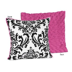Hot Pink Black and White Isabella Decorative Accent Pillow