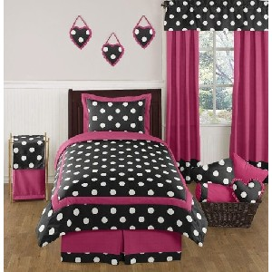 Hot Pink Black and White Polka Dot Childrens and Teen Bedding Set