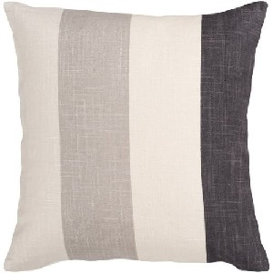 Ivory Gray and Black Thick Striped Decorative Throw Pillow