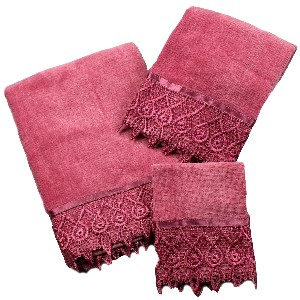Jenny Raspberry Plum 3 Piece Towel Set