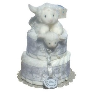 Jesus Loves Me White Baby Diaper Cake