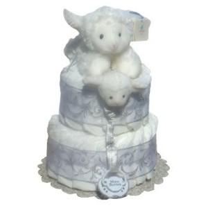 Jesus Loves Me White Baby Diaper Cake