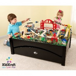 KidKraft Metropolis Train Table Set with Trundle Drawer Espresso