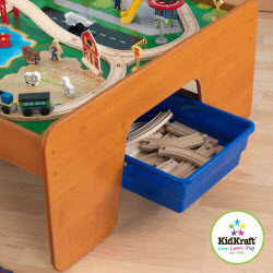 KidKraft Ride Around Train Set and Table with Drawers - Honey