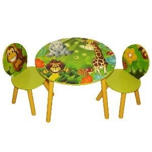 Kids Wooden Round Table and Chairs Set with Storage