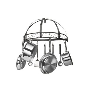 Kinetic Classicor Wrought-Iron Semicircle Pot Rack Black Enamel