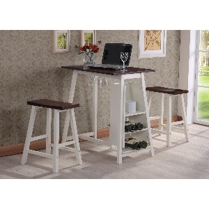 Kings Brand D3748 Small Table with Storage in Espresso and White Finish  sc 1 st  Stones Finds & Kitchen Tables for Small Spaces u2022 Stoneu0027s Finds