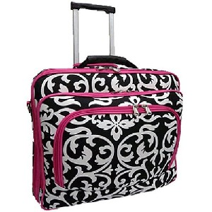 Ladies DAMASK with Pink Trim Rolling 15 and a half inch Computer Laptop Bag Brief Case