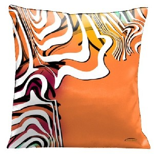Lama Kasso Contempo Modern Fiesta 2 Orange Throw Pillow