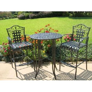 MANDALAY BAR BISTRO SET - BAR TABLE and 2 CHAIRS with ARMS in ANTIQUE BLACK - PATIO FURNITURE