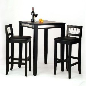 Home Styles 5123-358 3-Piece Manhattan Pub Table and Stools Set, Black Finish