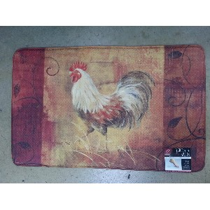 Memory Foam Kitchen Mat Soft For Standing With Rooster Design