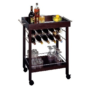 Mini Bar Cart Stand with Wine Rack