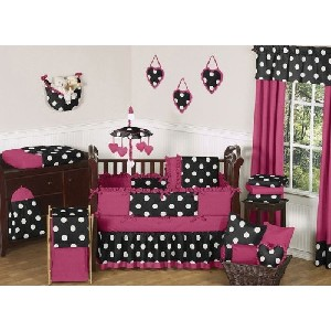 Modern Pink Black and White Hot Dot Designer Baby Girl Crib Bedding