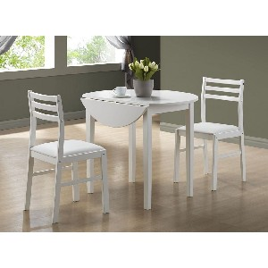 Monarch White 3pcs Dining Set With Drop Leaf