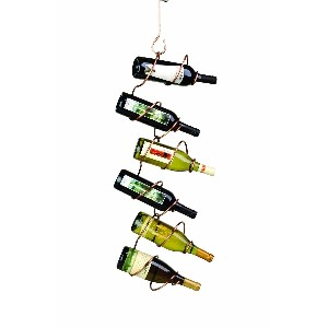 Oenophilia 6-Bottle Climbing Tendril Hanging Wine Rack, Copper