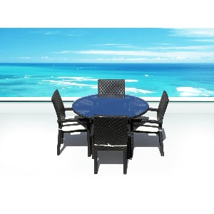 Outdoor Wicker Patio Furniture All Weather Resin Round Dining Table Set & Side Chairs