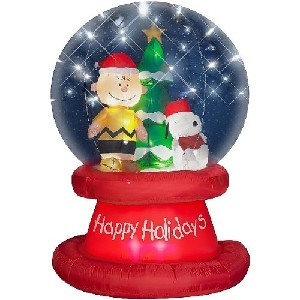 6 peanuts snoopy christmas airblown inflatable globe - Snoopy Blow Up Christmas Decorations