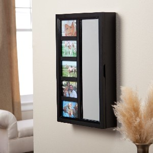Photo Frame Jewelry Armoire Mirror – High Gloss Black