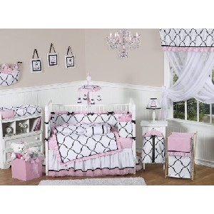 Pink Black and White Princess Baby Girl Crib Bedding