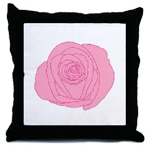 Pink Rose Flower Black and White Decorative Throw Pillow