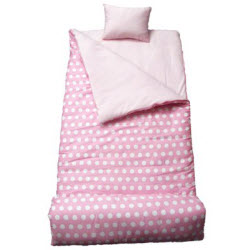 Pink White Polka Dot Girls Sleeping Bag